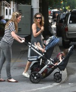 May 31, 2011: Sarah Jessica Parker and a nanny take the twins Marion and Tabitha for a walk in the West Village in New York City. Credit: INFphoto.com Ref: infusny-170/169|sp|